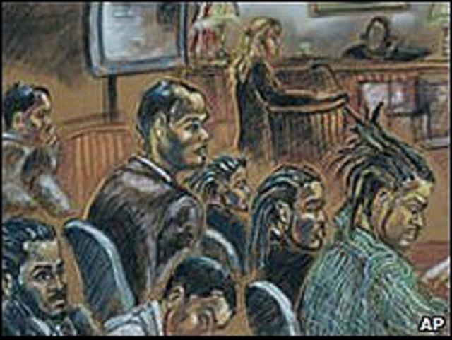 Dibujo de uno de los juicios (en noviembre de 2007) de los 'Seis de Liberty City' acusados de un plan para volar la Torre Sears, en Chicago.