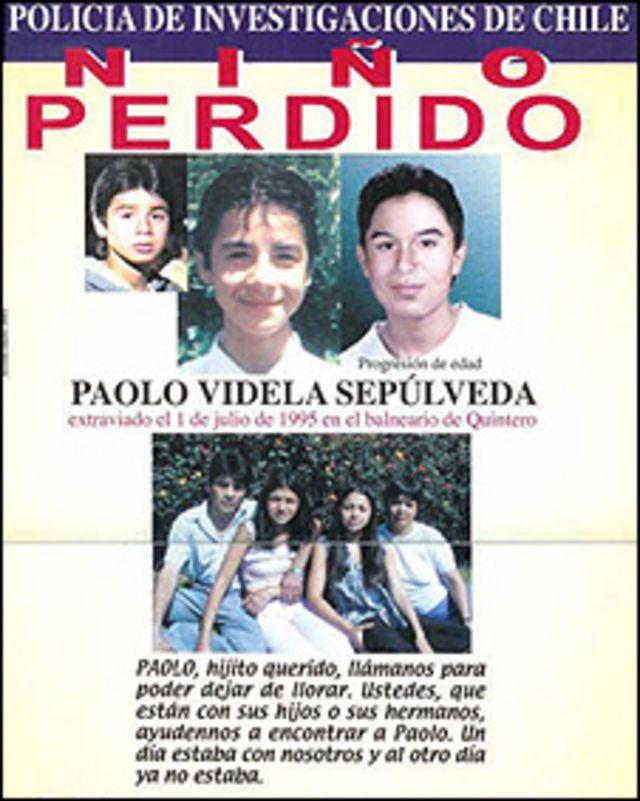 Cartel informativo sobre la desaparición de Paolo Sepúlveda
