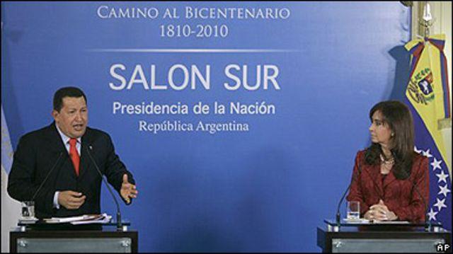 Hugo Chávez y Cristina Fernández en la Casa Rosada.