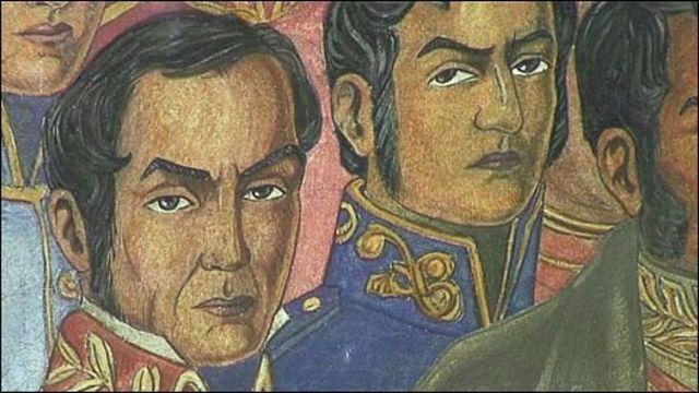 Pintura de próceres de las luchas por la independencia en América Latina