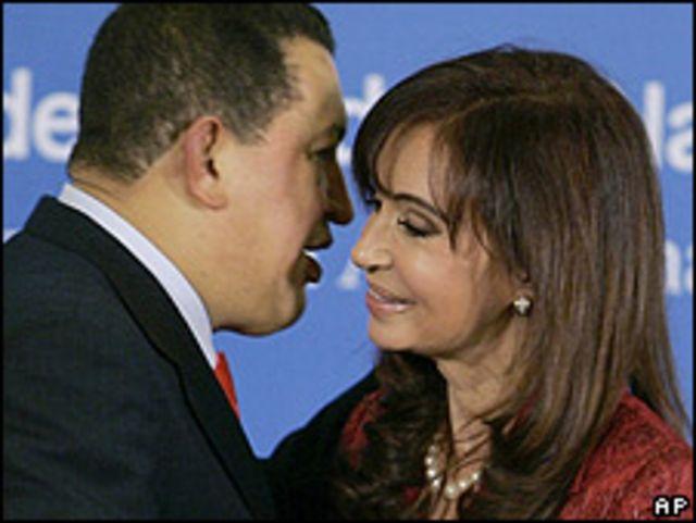 Hugo Chávez y Cristina Fernández, reunidos en Buenos Aires el viernes 15 de mayo, 2009