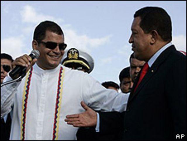 Los presidentes de Venezuela y Ecuador, Hugo Chávez y Rafael Correa.