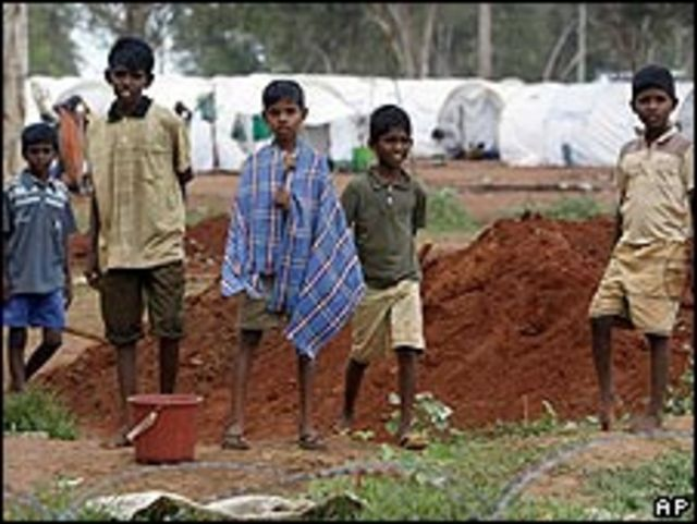 Campo de refugiados en Sri Lanka.