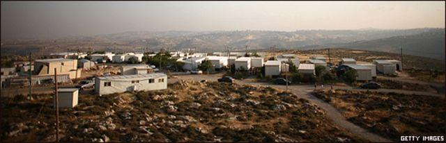 Vista general de asentamientos judíos en Migron, en el noreste de Cisjordania.