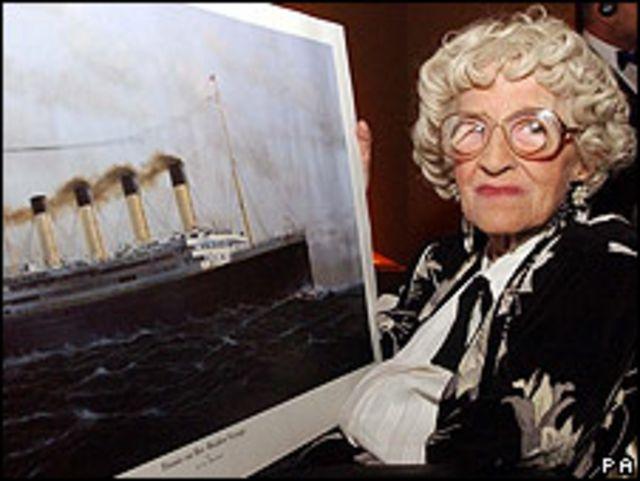 Millvina Dean, única superviviente del naufragio del Titanic, murió el 31 de mayo de 2009.