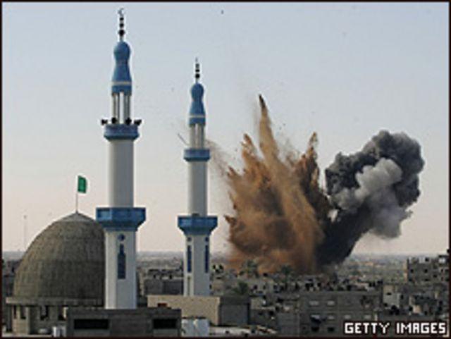 Vista de un ataque israelí en Rafah, el 13 de enero de 2009.