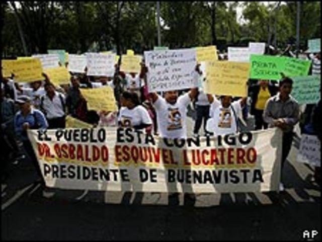 Protesta en las calles de Michoacán.