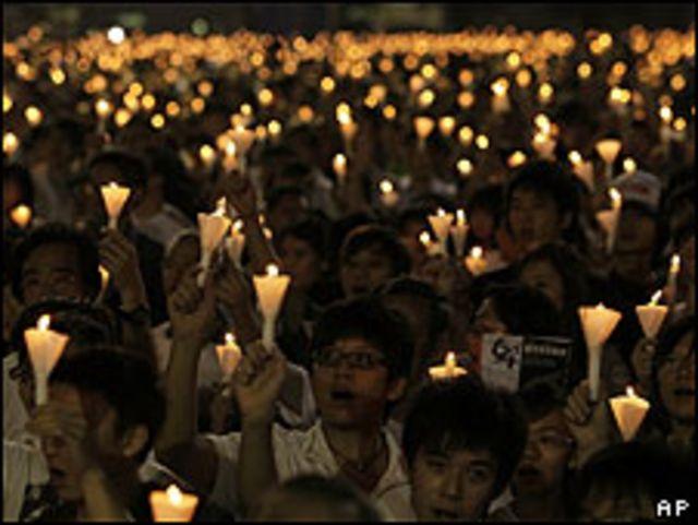 Vigilia en Hong Kong por Tiananmen