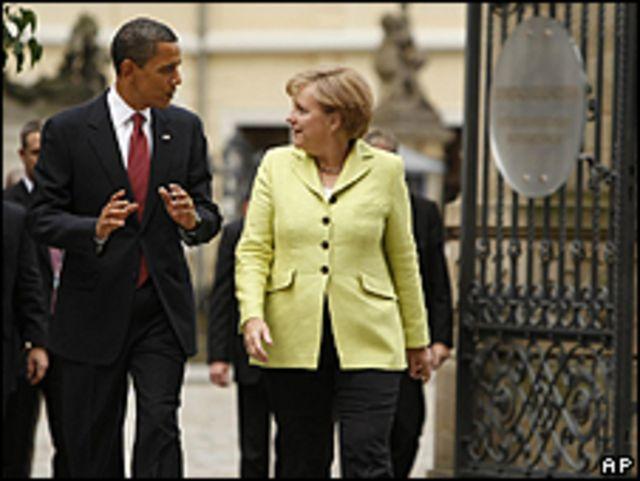 Obama y Merkel en Dresden