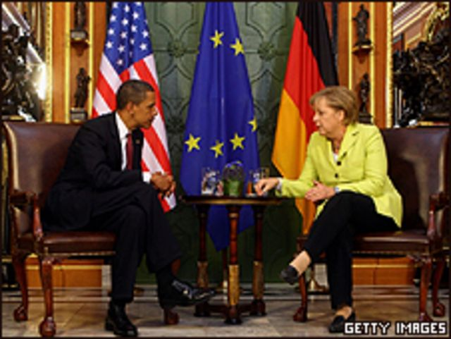 Obama junto a Angela Merkel en Dresden