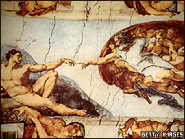 """""""La Creación de Adam"""", obra de Miguel Ángel plasmada en el techo de la Capilla Sixtina"""