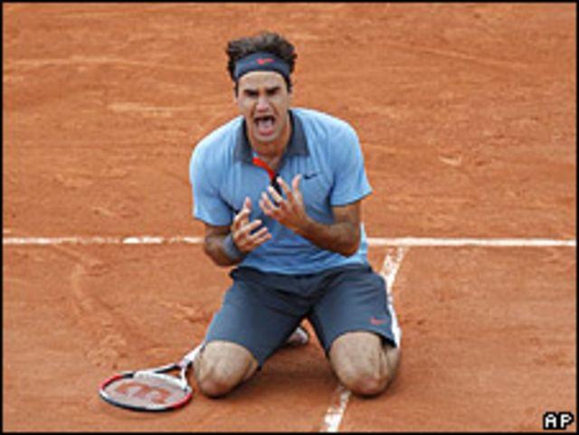 Roger Federer tras ganar el Roland Garros