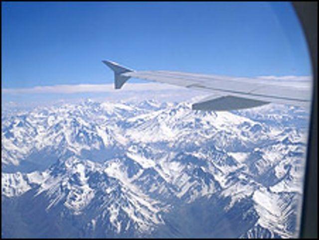 Vista de los Andes desde un avión