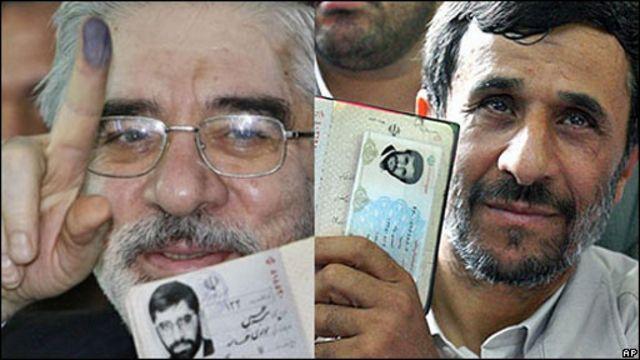 Mahmoud Ahmadinejad y Mir Hossein Mousavi, candidatos a la Presidencia de Irán.
