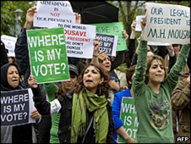 Seguidores de Mousavi protestas