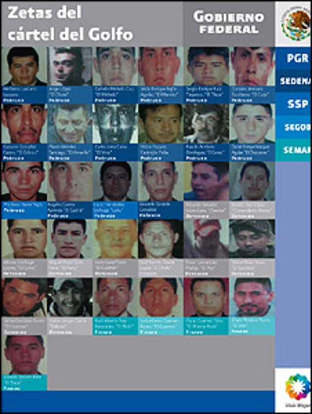 Miembros de los Zetas, según la Procuraduría General de México