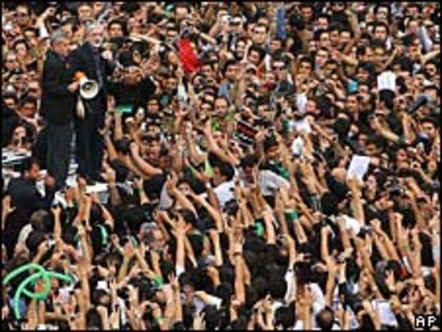 Mousavi en una manifestación en Teherán