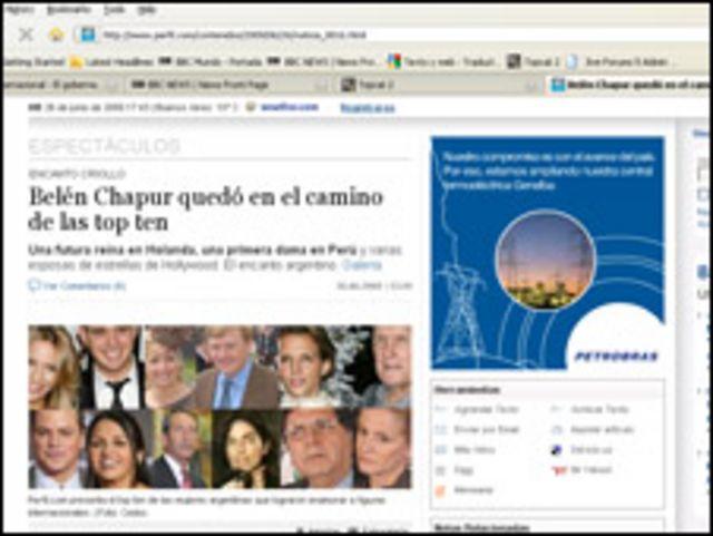 Edición digital del diario argentino Perfil.