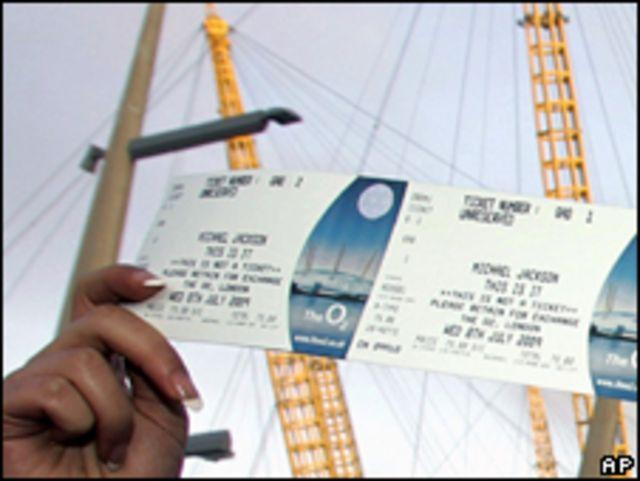 Ticket de reserva para el concierto de Jackson en Londres