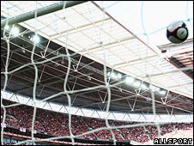 Gol de un equipo de fútbol (imagen de archivo)