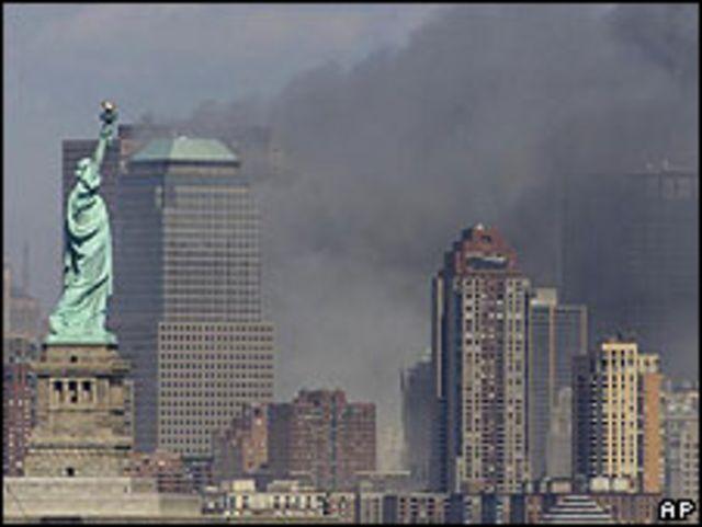 Estatua de la Libertad durante el 11 de Septiembre