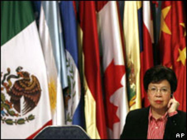 المديرة العامة لمنظمة الصحة العالمية مارجريت تشان أثناء قمة بكانكون المكسيكية (02/07/09)