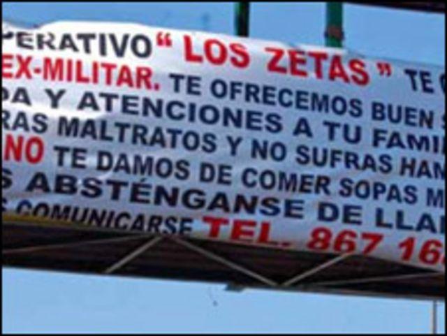 Pancarta de Los Zetas