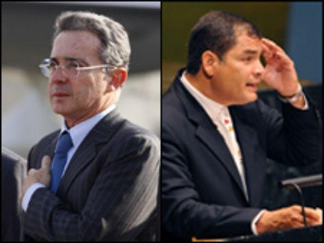 Álvaro Uribe y Rafael Correa.