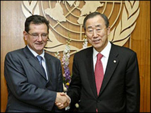 Carlos Castresana y el secretario general de la ONU, Ban Ki-moon (Foto: gentileza ONU).