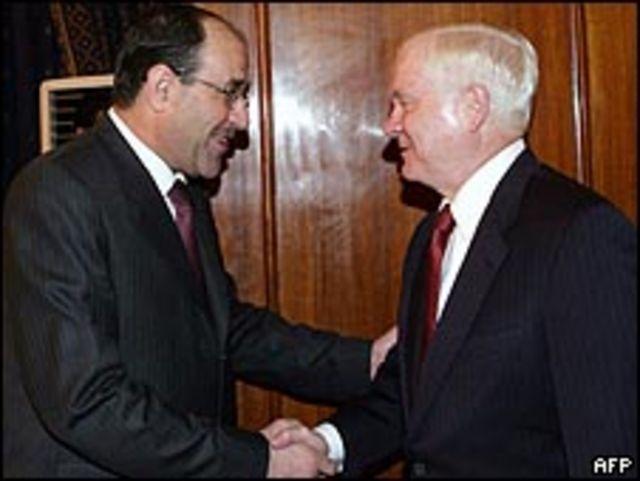 محادثات جيتس والمالكي في بغداد