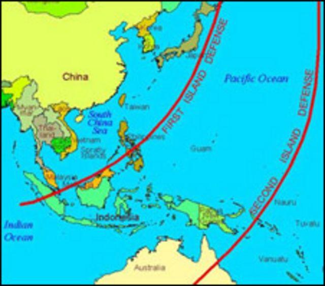 Bản đồ hai tuyến phòng thủ biển của TQ