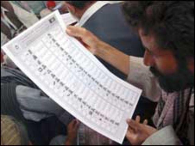 أفغاني يتفقد بطاقة اقتراع