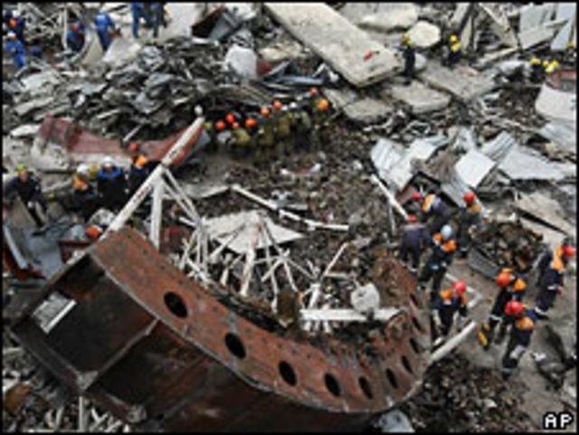 Разрушенный агрегат Саяно-Шушенской ГЭС