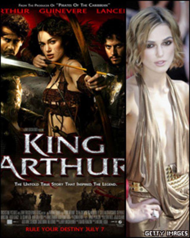 """Afiche de la película """"El rey Arturo"""" y una foto de la actriz Keira Knightley"""