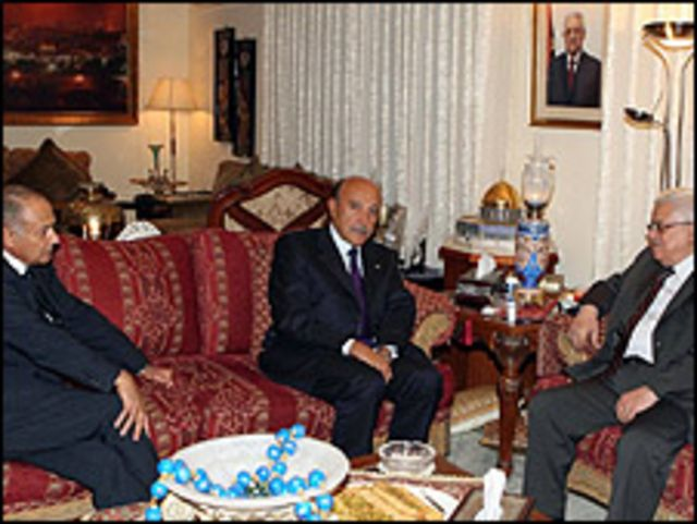 لقاء ابو الغيط وسليمان مع عباس