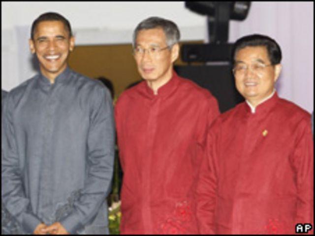 奧巴馬與李顯龍、胡錦濤