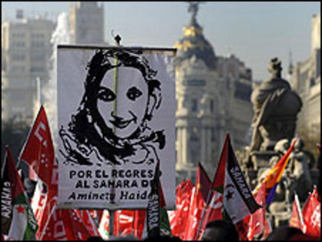 مظاهرات في مدريد تطالب بعودة امينتو حيدر