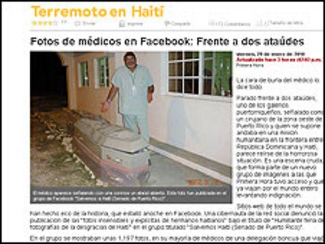 Captura del diario Primera Hora sobre imágenes de médicos boricuas en Santo Domingo