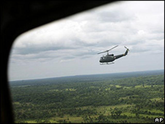 Un helicóptero de las fuerzas de seguridad de Paraguay durante un operativo contra el EPP