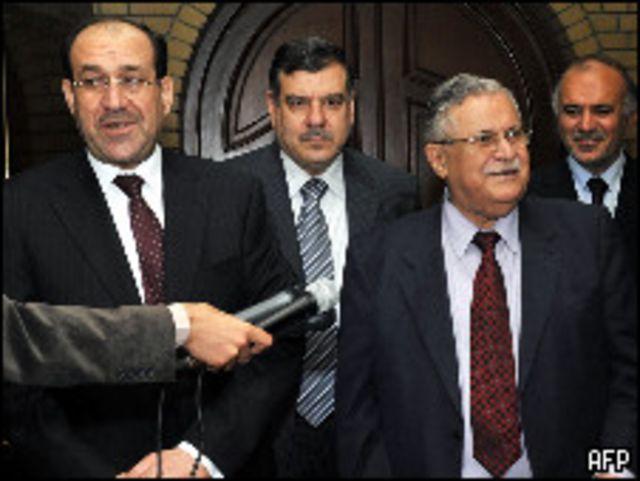 الرئيس العراقي جلال طالباني ورئيس الوزراء نوري المالكي