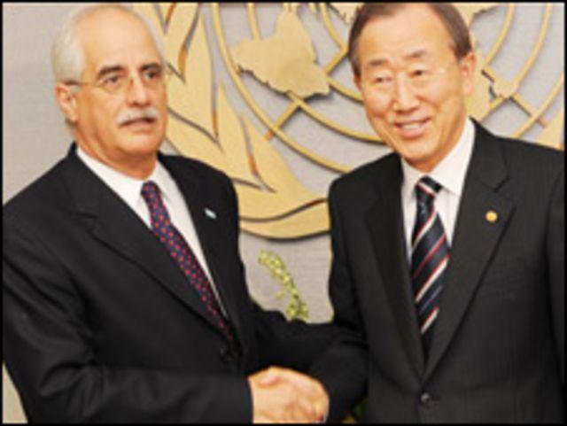 وزير الخارجية الارجنتيني جورج تايانا وامين عام الامم المتحدة