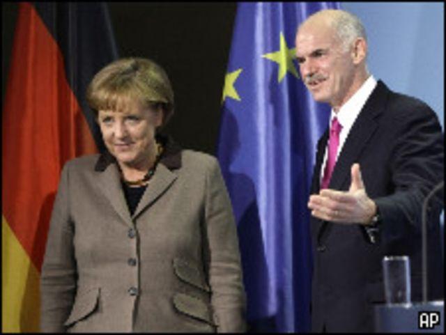 Георгиос Папандреу и Ангела Меркель