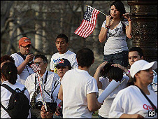 جزء من المظاهرة التي طالبت بإصلاح نظام الهجرة