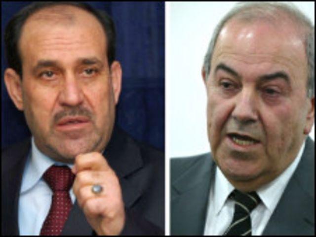 المتنافسان الرئيسيان في الانتخابات العراقية نوري المالكي واياد علاوي