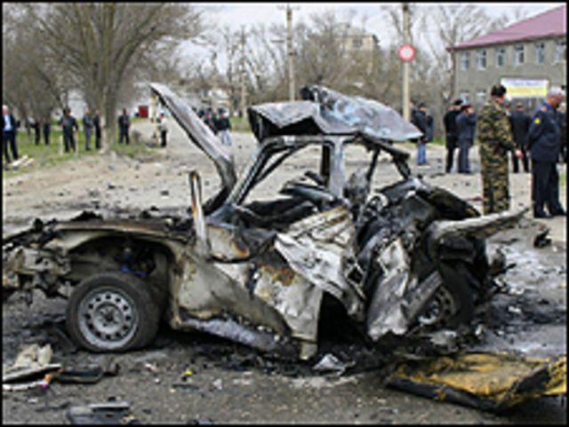 سيارة متفحمة في داغستان