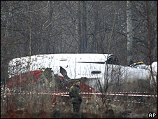 Avión donde iba el presidente polaco