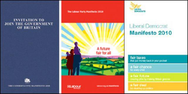 البرامج الانتخابية لكل من حزب المحافظين والعمال والديمقراطيين الاحرار