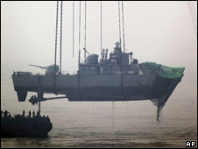 جزء من السفينة الكورية المنكوبة شونان
