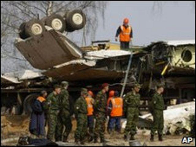 حطام طائرة الرئيس البولندي ليخ كاتشنسكي
