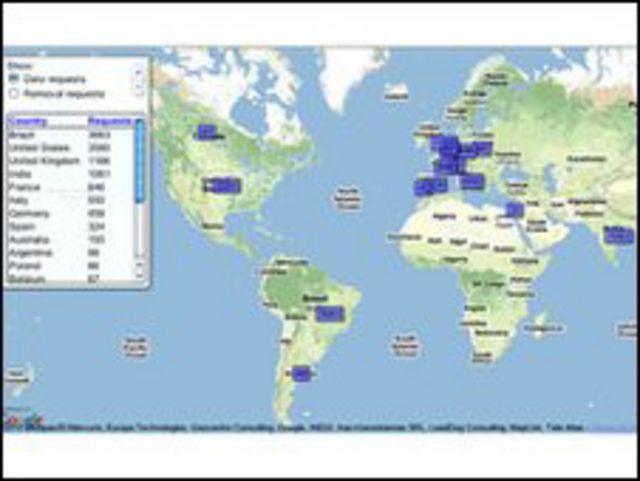 خارطة نشرتها جوجل للحكومات التي تطلب منها معلومات عن افراد